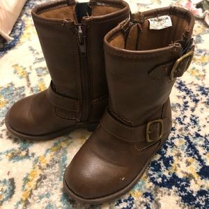 Brown toddler motorcycle boots